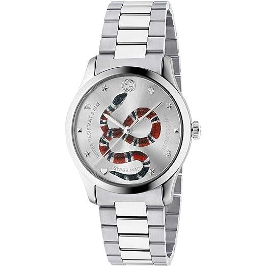 Reloj Gucci G-Timeless 38 mm de Acero Inoxidable de la Serpiente en el dial YA1264076: Amazon.es: Relojes