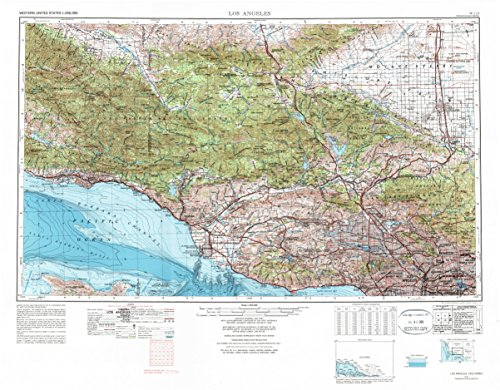 Los Angeles CA topo map, 1:250000 scale, 1 X 2 Degree, Historical, 1975, updated 1977, 25.1 x 32.1 IN - - Village Topanga