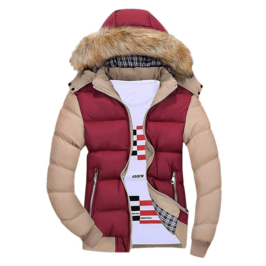 Funnygals - Men's Down Jacket Lightweight Insulated Hooded Puffer Jackets Windproof Winter Wram Padded Jackets Coats Watermelon Red by Funnygals - Clothing