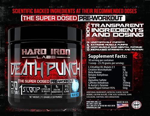 Hard Iron Labs - Death Punch - The Super Dosed Pre-Workout! Blue Razz Flavor (30 Servings)