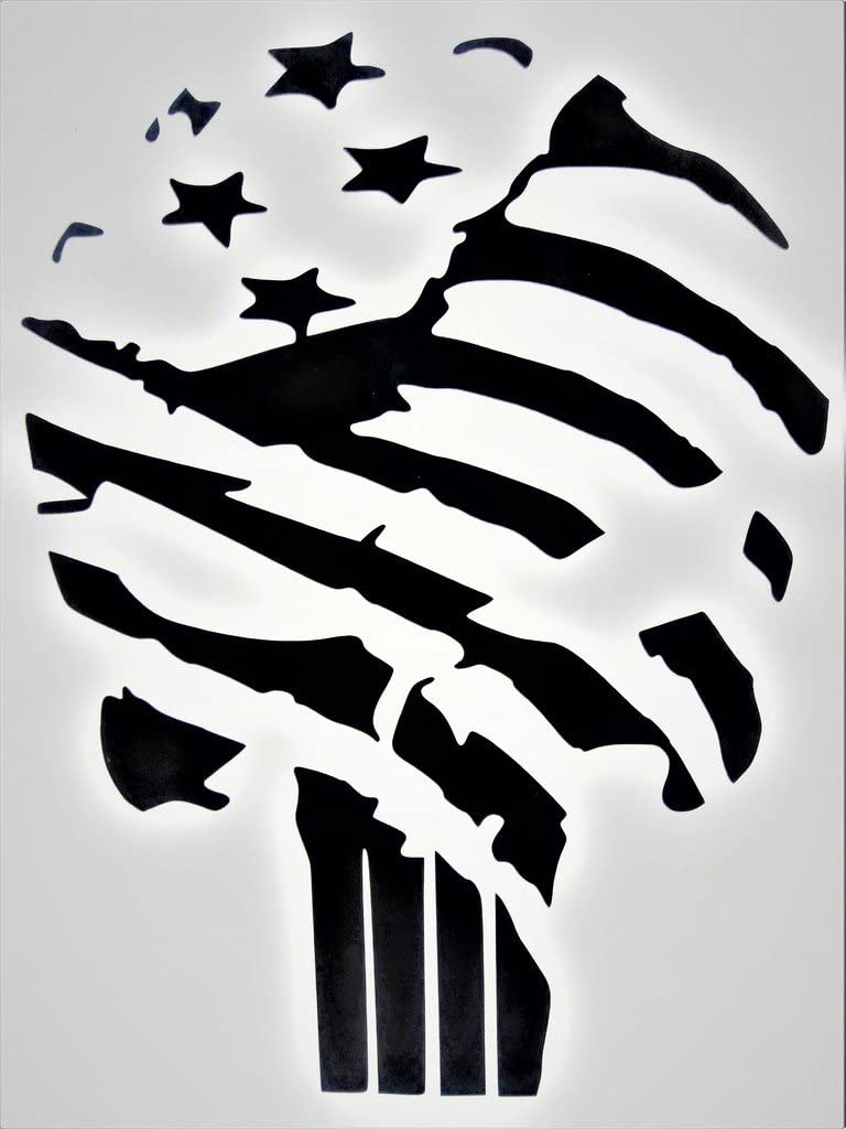 "Chase Grace Studio Punisher Skull United States Flag America USA Military Vinyl Decal Sticker|Black|Cars Trucks Vans SUV Laptop Wall Art|5.5"" X 4""|CGS376"