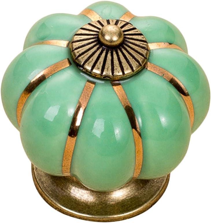 foxom 5pcs para Muebles de pomos de cer/ámica calabaza pomo de puerta caj/ón Dresser tirador Verde 3.8*3.8*3.9cm