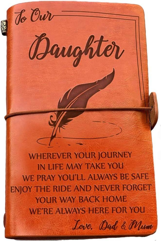Diario de viaje de 120 p/áginas con texto en ingl/és /«Enjoy the Ride and Never Forget the Way/» Diario de piel para ni/ñas con texto en ingl/és /«To My Daughter/»