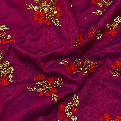 Shopolics Purple Banarasi Dupion Base Fabric With Red and Golden Floral Embroidery-60020 For Wedding, Party Wear, Fabric (1 Yard)