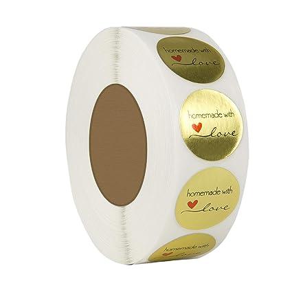 500 Etichette Per Rotolo Andifany 1 Lamina DOro Rotonda In Pollici Fatta In Casa Con Adesivi Amore