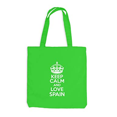 Yute bolsa - Keep Calm and Love Spain - doméstica WEH regalo Idea España, verde claro: Amazon.es: Ropa y accesorios