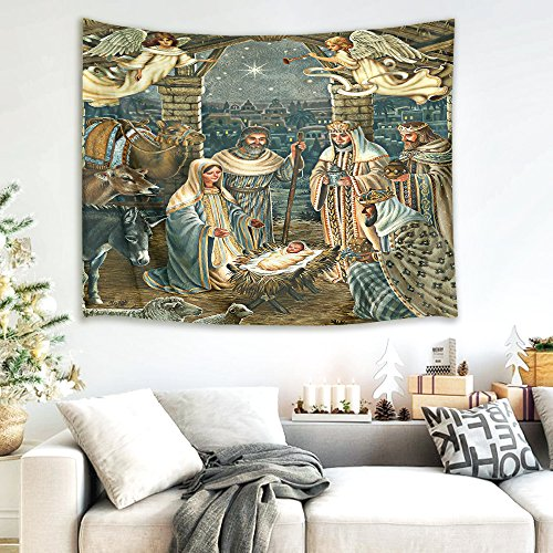 HVEST Nativity Scene Tapestry Angel and Christian Guard Jesus Christ Birth in Manger Wall Hanging Blanket Merry Christmas Tapestries for Bedroom Living Room Dorm Decor,60Wx40H inches ()