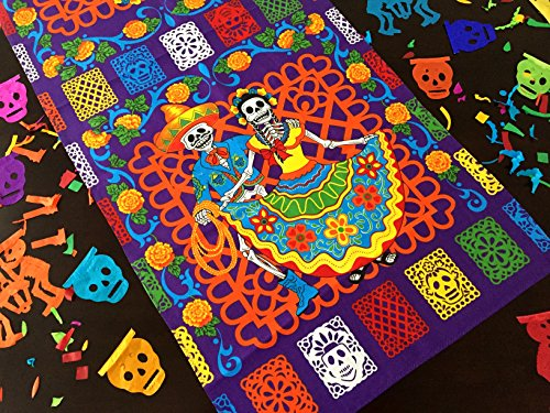 Dia de Muertos Decorations, Day of the dead table runner 23x58 Inches, Halloween decorations, Dinner party Muertos, Mexican Fiesta Party Supplies, Altar TRMUERTOS100 ()