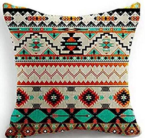 Bohemian Style Colorful Stripes Southeast Asian Ethnic Style Geometric Design Cotton Linen Throw Pillow Case Cushion Cover Home Office Decorative Square 18 X 18 Inches