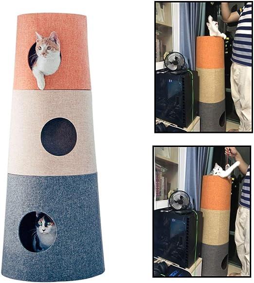 STKJ Marco De Escalada para Gatos, Nido De Gatos Tongtianzhu, Poste para Rascar Gatos, Torre para Gatos De Múltiples Capas Casa para Mascotas con Árbol De Gato, Pequeña Villa Creativa para Gatos: