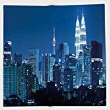 Cotton Microfiber Hand Towel,Cityscape,Kuala Lumpur Skyline Night KLCC Twin Towers Malaysian Landmark Monochromic Photo,Navy Black,for Kids, Teens, and Adults,One Side Printing