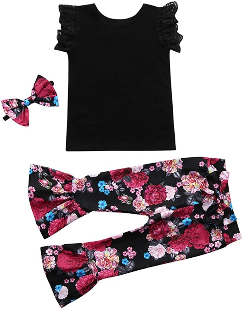 Bow Headband Clothes Set Kehen Kids Toddler Baby Girl 3pcs Summer Outfits Lace Vest Top Flower Print Horn Trousers