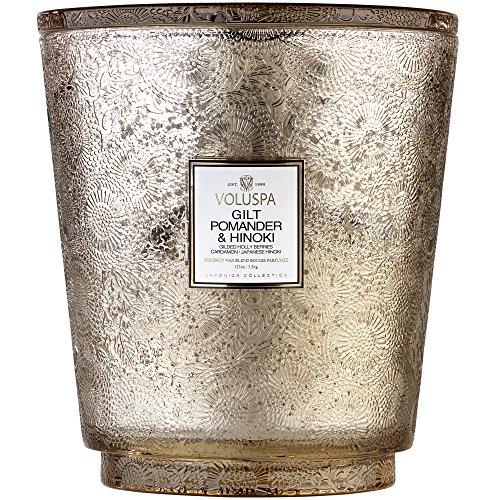 Voluspa Hearth 5 Wick Glass Candle in Gilt Pomander & Hinoki by Voluspa