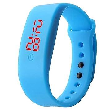 Reloj de pulsera unisex con correa de silicona de Brussels08, pantalla digital LED, estilo deportivo, para niños y niñas, color azul celeste: Amazon.es: ...