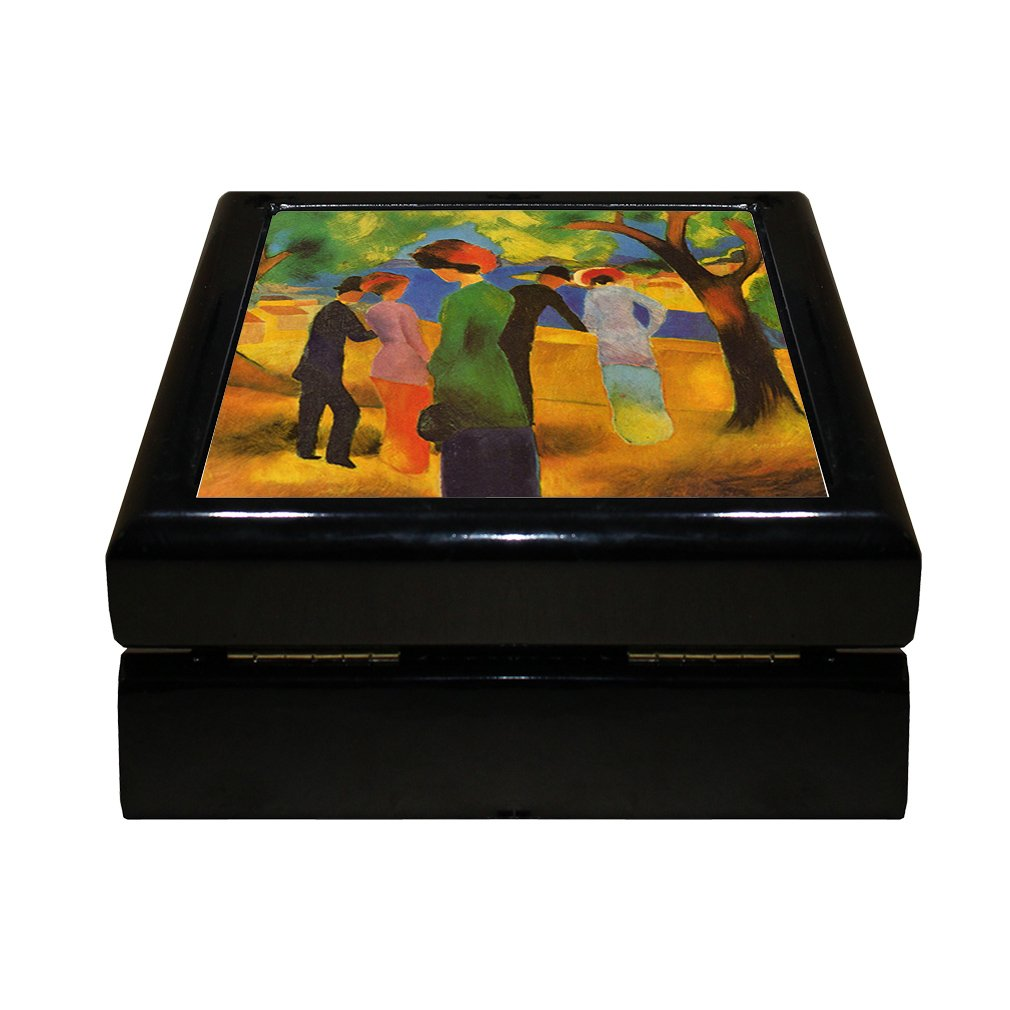 Style in Print Lady In A Green Jacket (August Macke) 4''x4'' Jewelry Box Ceramic Tile Black Frame