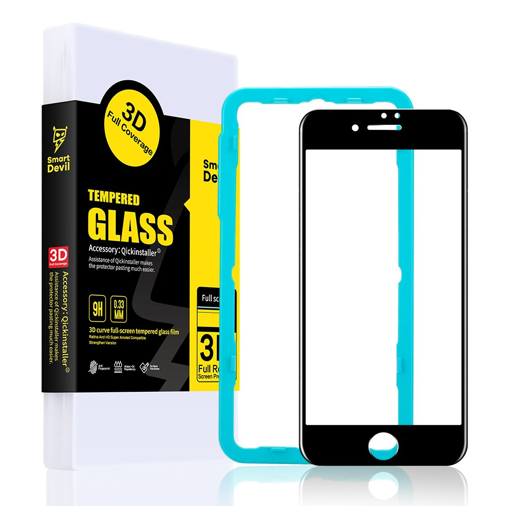 SmartDevil Screen Protector for iPhone 7 Plus 8 Plus Tempered Glass 3D Full Front Film Easy Installation, Bubble Free, Case Friendly Screen Protector for Apple iPhone 8 Plus [5.5 inch] [Black Edge]