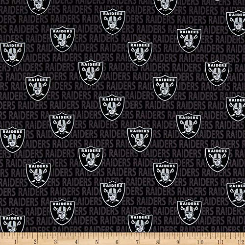 Traditions NFL Cotton Broadcloth Oakland Raiders Mini Black, Fabric by the Yard