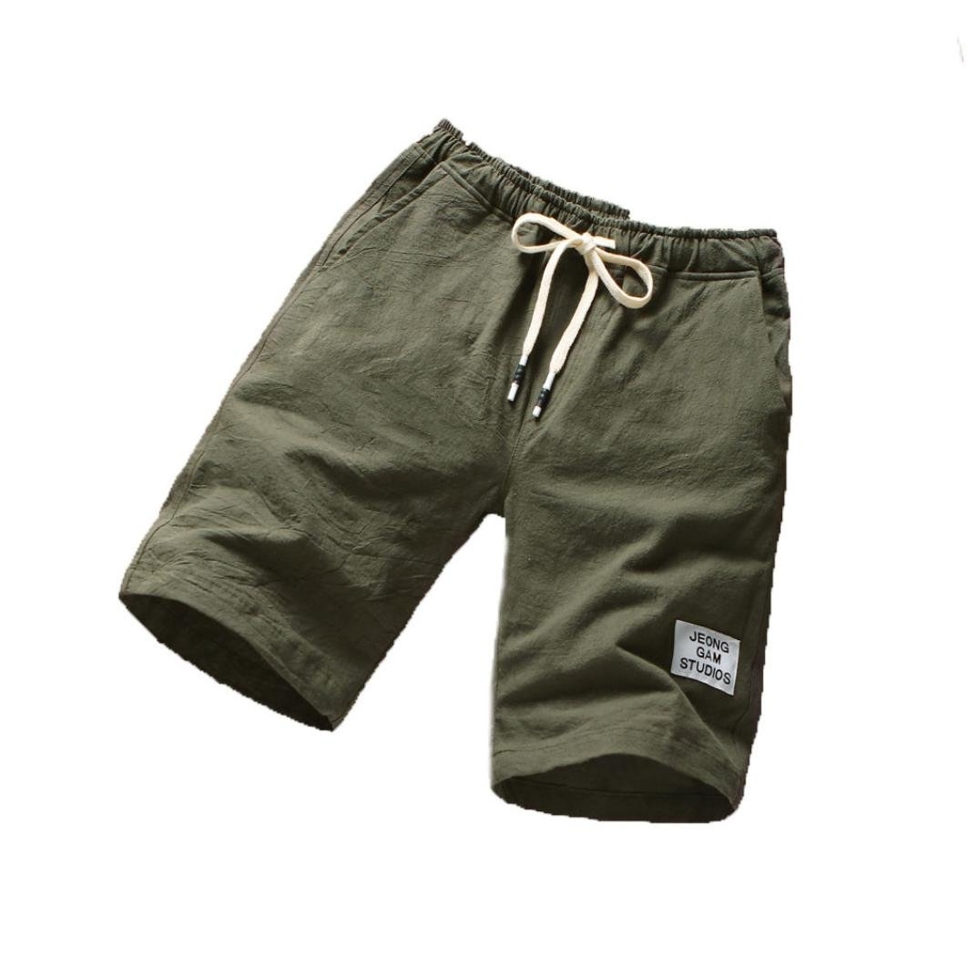 WUAI Clearance Men's Casual Drawstring Elastic Slim Fit Comfortable Pocket Outdoor Cargo Shorts (Army Green,US Size M = Tag L)