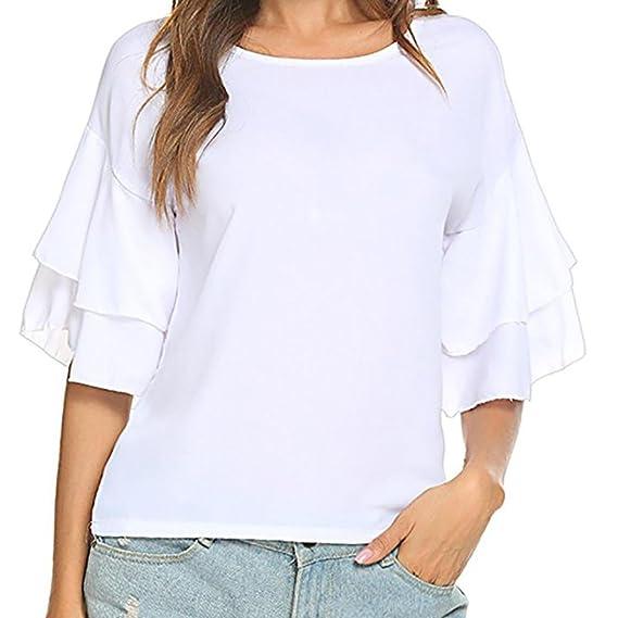 Blusas Mujer, ASHOP Casual Ruffles Sólidos Sudaderas Moda Elegantes Ropa en Oferta Camisetas Manga Larga