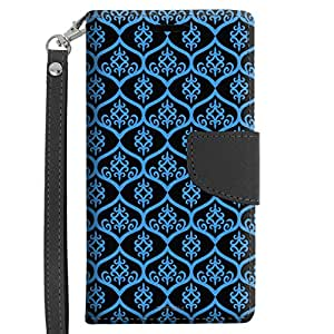Samsung Galaxy Grand Prime Wallet Case - Victorian Tileable Blue on Black