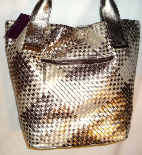 Eliott Lucca Intreccio Leather Tote Dark Gold Ginger Style (Lucca Woven Leather)