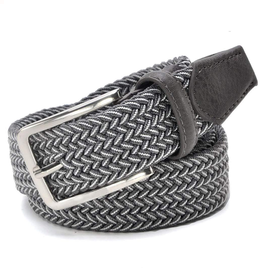 JUIHUGN Men Blue Elastic Stretch Waist Belt Canvas Stretch Braided Elastic Woven Leather Belt 1-3//8 Wide Hot Metal Stretch Belt for Men White Grey 155cm