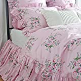 Shabby Rose Floral Duvet Cover Ruffle Girls Bedding Sets