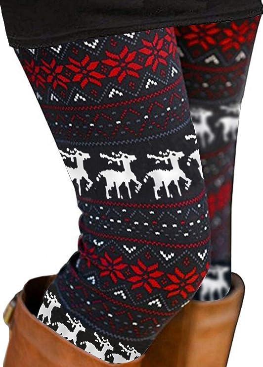 NEW Christmas Print Leggings Pants One Size OS Plus Size TC Kissing Reindeer