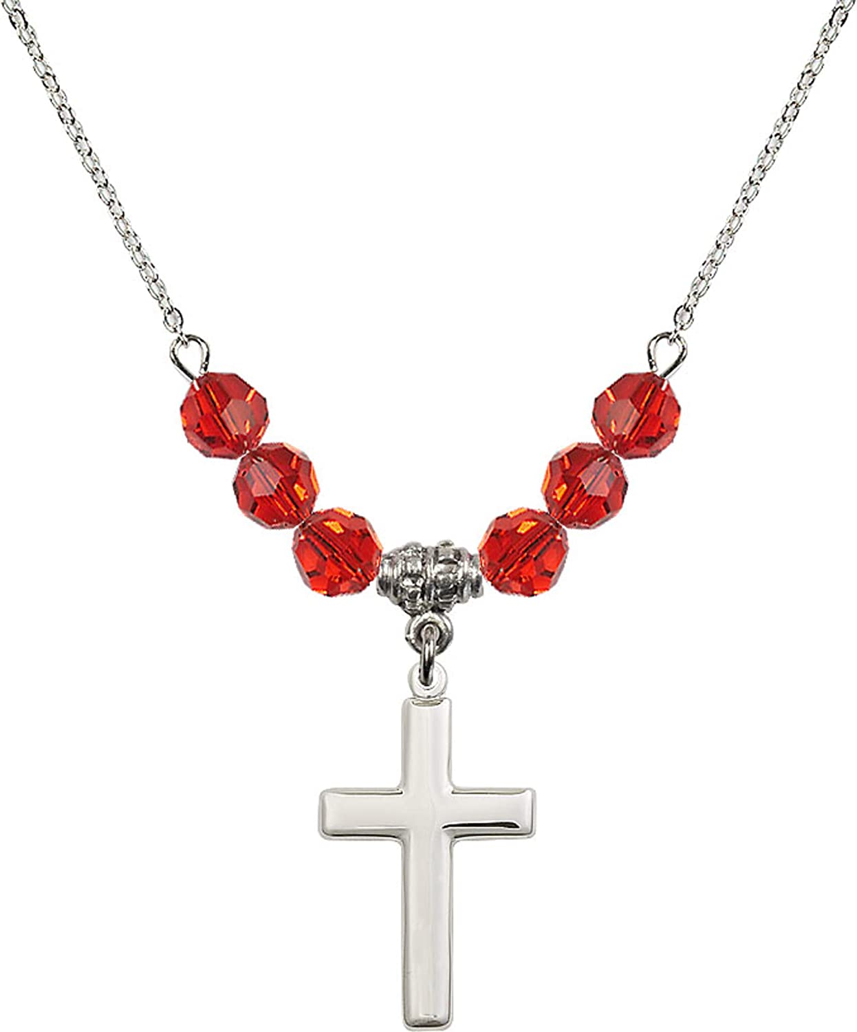 Bonyak Jewelry 18 Inch Rhodium Plated Necklace w// 6mm Red July Birth Month Stone Beads and Cross Charm