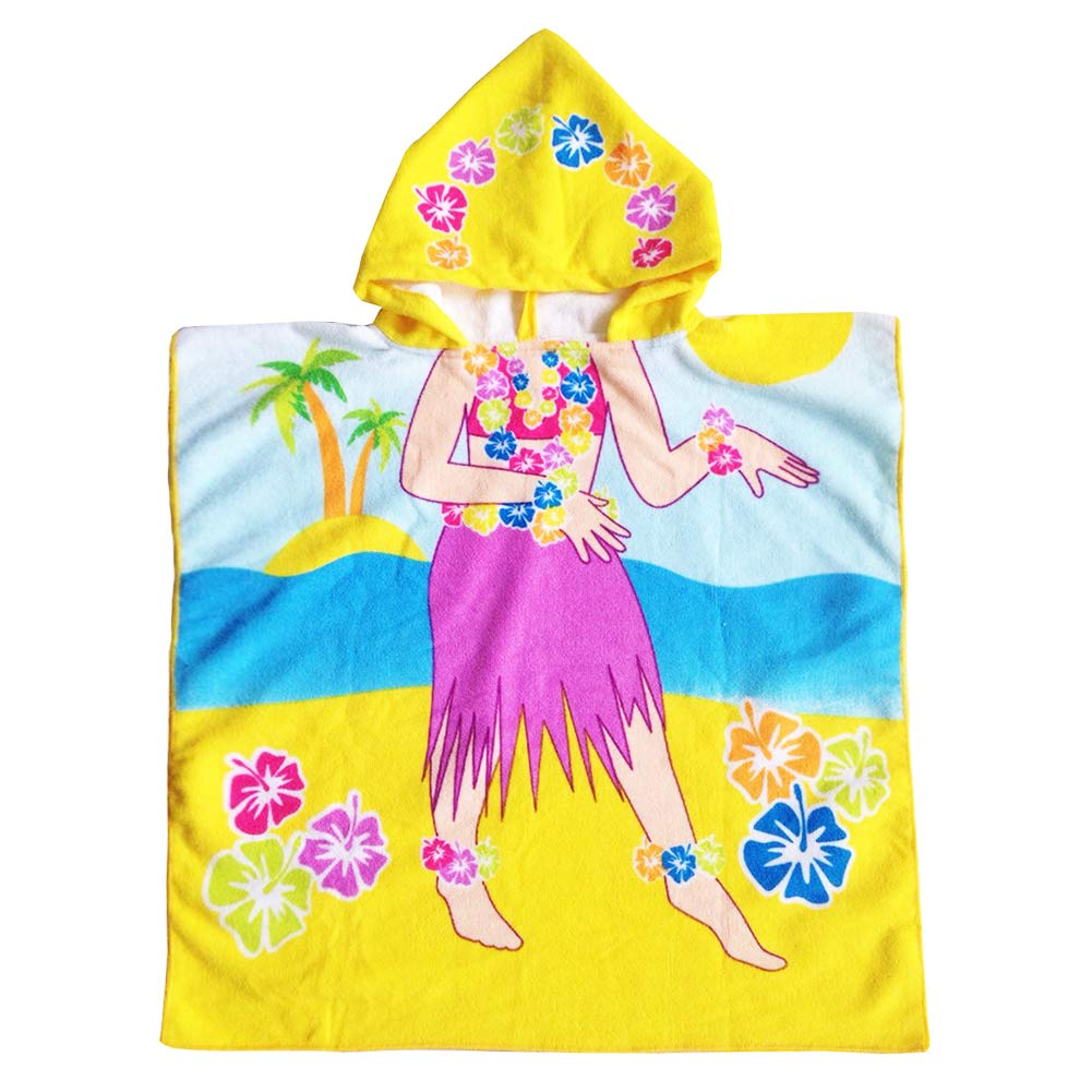 Peicees Kids Beach Swim Pool Towel Toddler Baby Children Bath Shower Towel Bathrobe Hooded Poncho For 2-10 Years Old Boys and Girls(Hula)