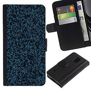 LASTONE PHONE CASE / Lujo Billetera de Cuero Caso del tirón Titular de la tarjeta Flip Carcasa Funda para Samsung Galaxy S5 V SM-G900 / Blue & Black Mosaic Pattern