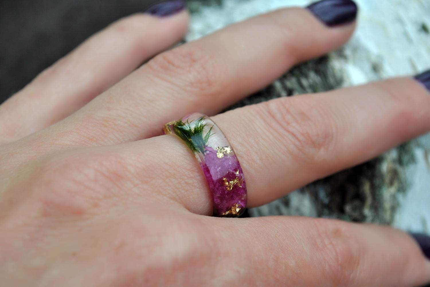 Amazon Com Eco Resin Ring Band With Natural Pressed Orchid Petals And Gold Flakes And Nature Moss Handmade
