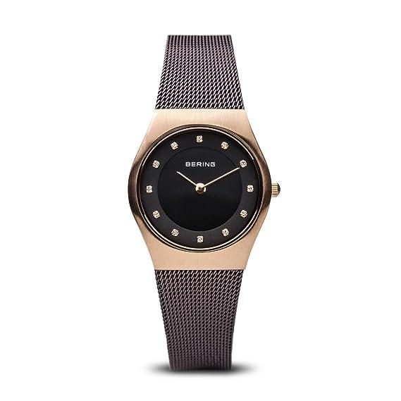 Bering Classic - Reloj analógico de mujer de cuarzo con correa de acero inoxidable negra - sumergible a 50 metros: Amazon.es: Relojes