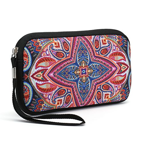 Bag Clutch Wallet (Unisex Portable Washable Travel All Smartphone Wristlets Bag Clutch Wallets, Change Purse,Pencil Bag,Cosmetic Bag Pouch Coin Purse Zipper Change Holder With Strap (Colorful Flowers))