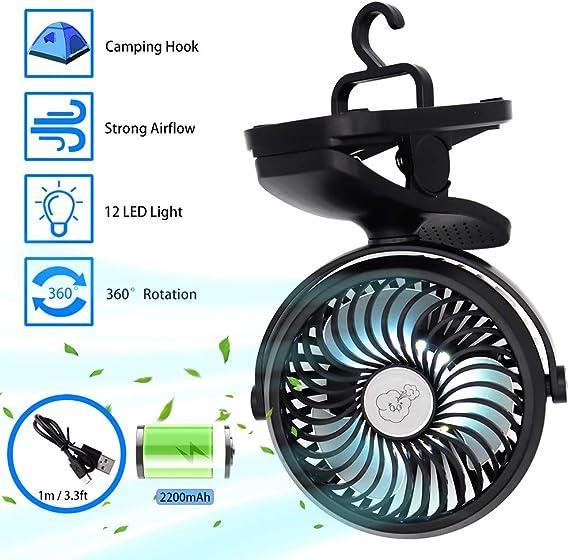 Camping Ventilador con Linterna LED, Ventilador de Cochecito con Clip a Batería recargable con Gancho para Colgar para Tienda, Ventilador pequeños silenciosose, Mini Ventilador para Camper Emergencias: Amazon.es: Electrónica