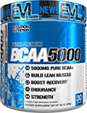 #10: Evlution Nutrition BCAA5000 Powder (30 Servings, Blue Raz) 5 Grams of Premium BCAAs
