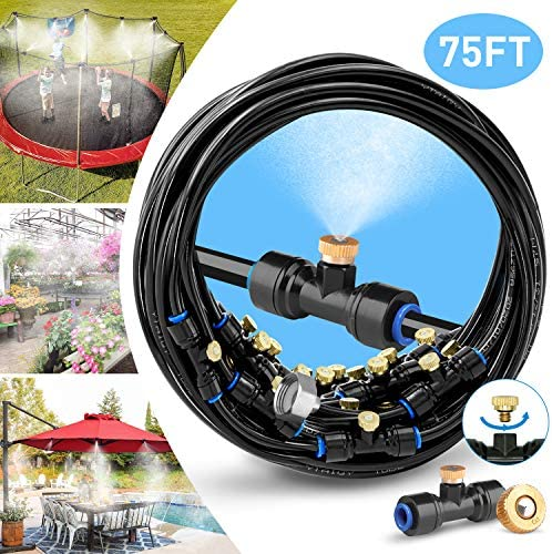 HOMENOTE Misting Cooling System 75FT 23M Misting Line 28 Brass Mist Nozzles a Brass Adapter 3 4 Outdoor Mister for Patio Garden Greenhouse Trampoline for waterpark
