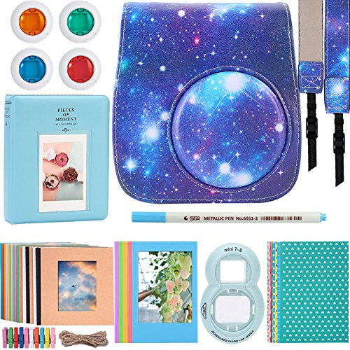 Katia Instant Camera Accessories Bundle Compatible for Fujifilm Instax Mini 9 / Mini 8 Instant Film Camera. Including Camera Case, Album, Frame, Stickers, Strap, Filters, Selfie Len, Pen – Galaxy