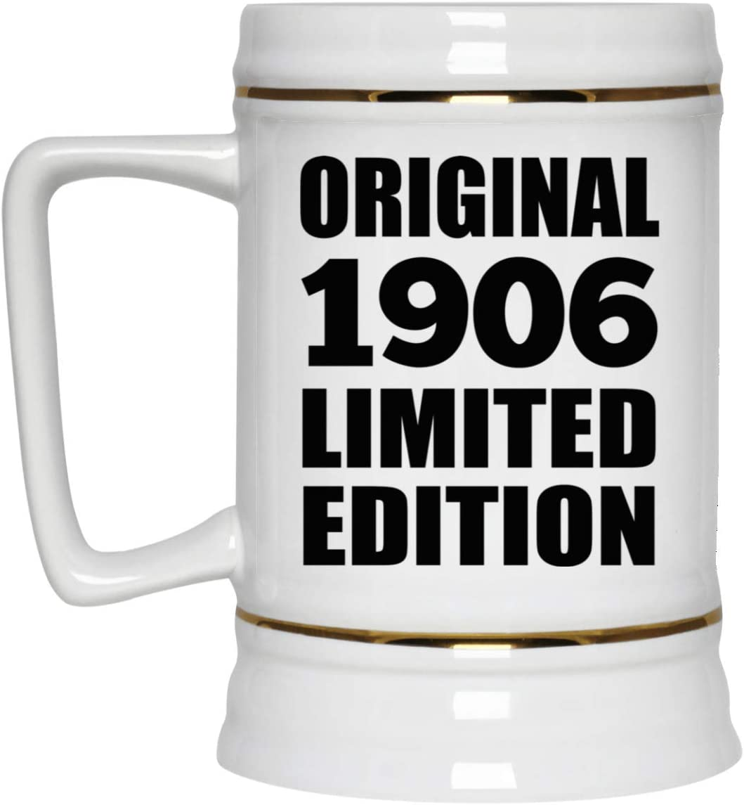114th Birthday Original 1906 Limited Edition - 22oz Beer Stein Ceramic Bar Mug Tankard High Quality - Gift for Friend Kid Daughter Son Grand-Dad Mom Jarra de Cerveza, de Cerámica - Regalo para Cump
