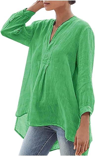 Camisa de manga larga para mujer Hawkimin manga larga casual cuello en V túnica verano otoño camiseta asimétrica de manga larga verde XXXL: Amazon.es: Ropa y accesorios