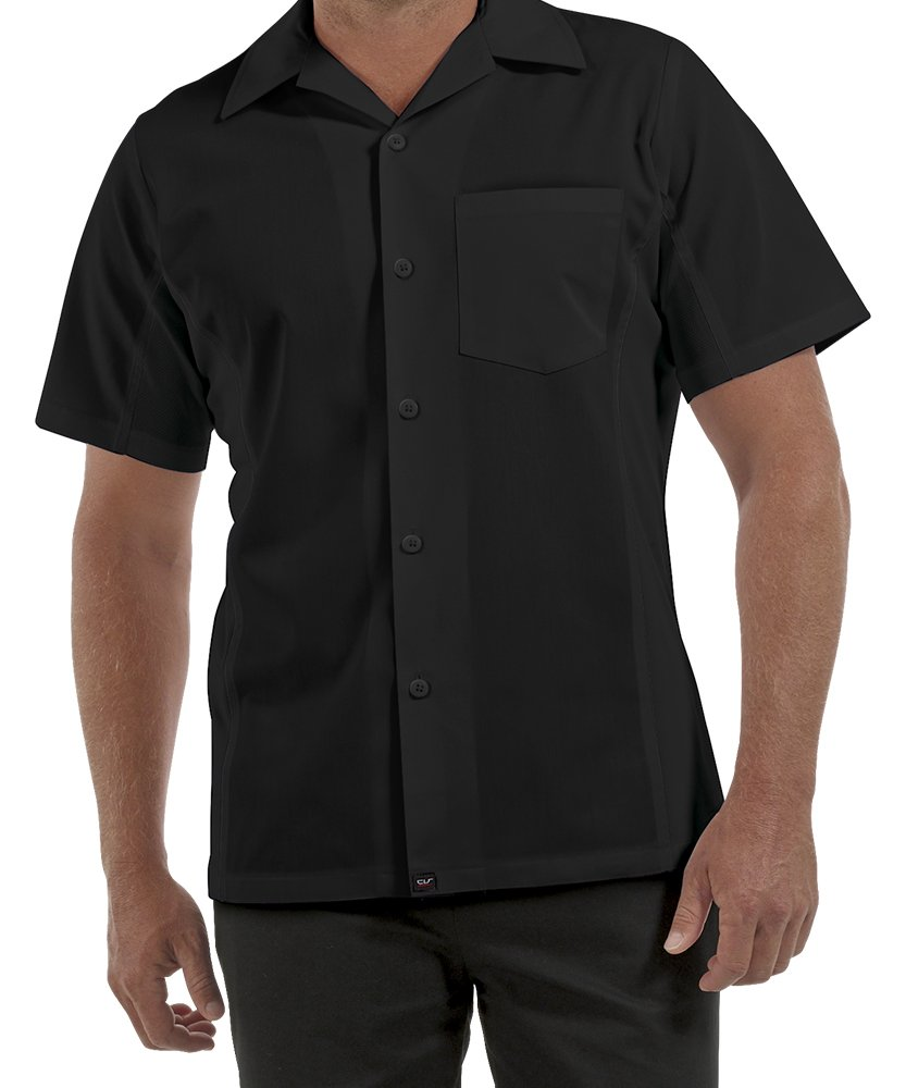 ChefUniforms.com Men's Kitchen Shirt with Mesh Sides (XS-5X, 2 Colors) (Medium, Black)