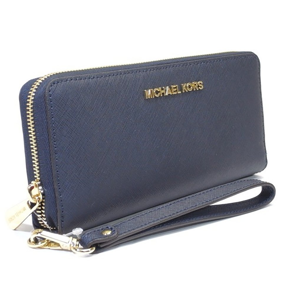 37b3ecd9686b Michael Michael Kors Jet Set Travel Leather Continental Wallet (Navy)   Handbags  Amazon.com