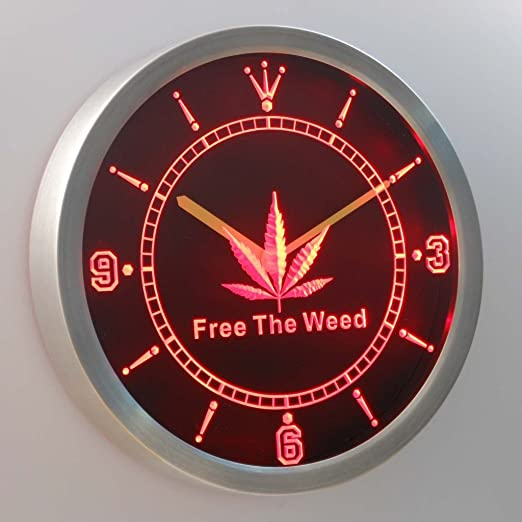 Free The Weed Hemp Marijuana Bar Neon Sign LED Wall Clock