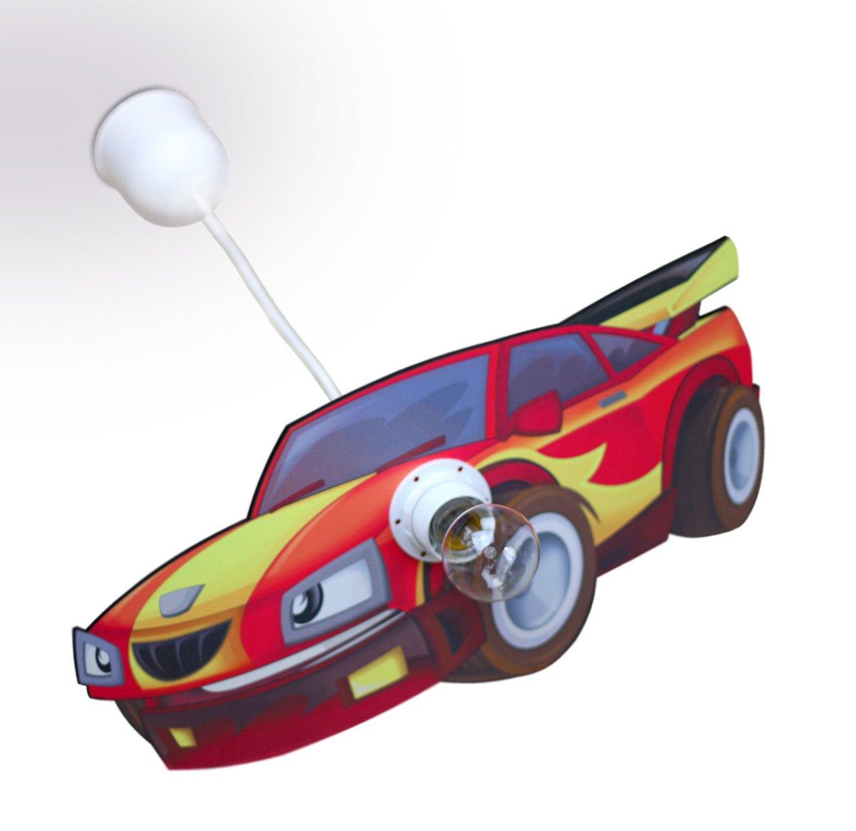 Kinderlampe 1-flammig mit Motiv Auto / Farbe: Orange / Rot ...