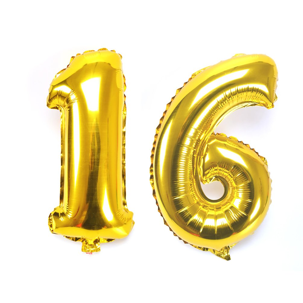 KIYOOMY 40 Number 16 Balloon Silver Gaint Jumbo Foil Mylar Number Balloons for Sweet 16 Birthday Party Decorations