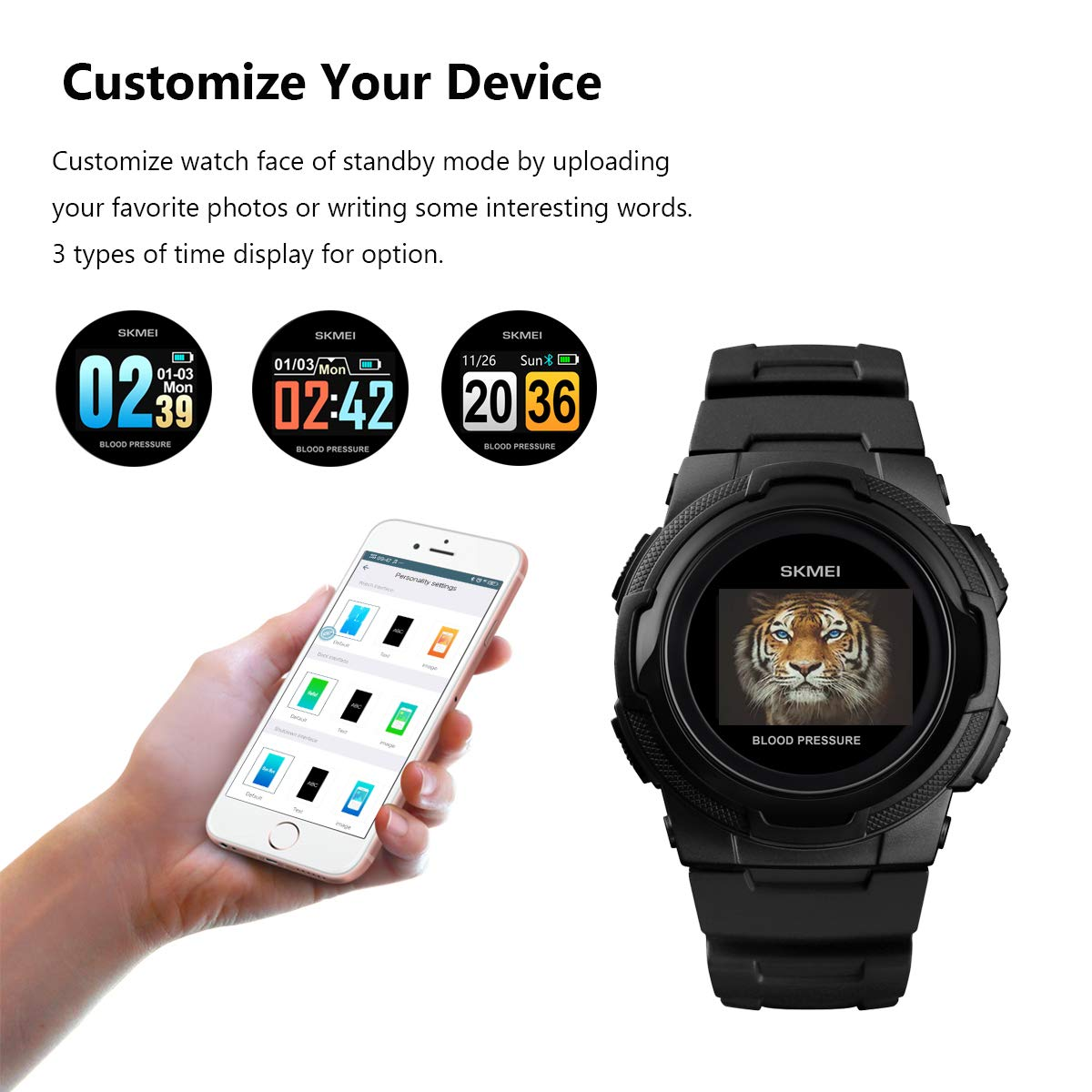 Smart Watch for Men Compatible with Android iPhone Samsung, Heart Rate Blood Pressure Oxygen Sleep Monitor Pedometer GPS, Waterproof Sport Fitness Tracker Smartwatch by LB LIEBIG (Image #3)