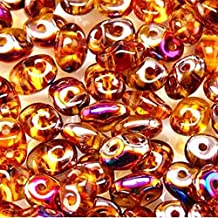 Topaz Sliperit SuperDuo Czech Two Hole Seed Beads 2.5x5mm Approx 20 Grams