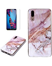 for Huawei P20 Pro Marble Case and Screen Protector,Unique Pattern Design Skin Ultra Thin Slim Fit Soft Gel Silicone Case,QFFUN Shockproof Anti-Scratch Protective Back Cover - Pink
