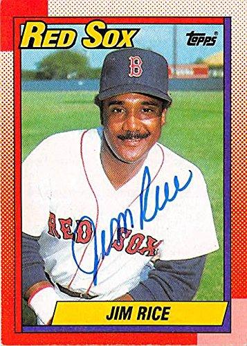 Jim Rice autographed baseball card (Boston Red Sox) 1990 Topps #785 (Jim Rice Autographed Baseball)