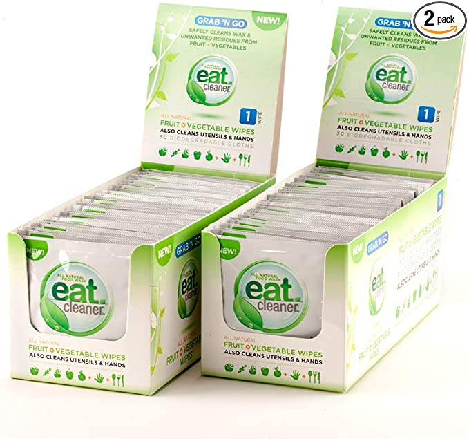 eatCleaner Individually Wrapped Fruit and Veggie Wipes Remove Harmful Residue and Chemicals Where There is No Water, Handy Travel and Cleansing Wipes- 2-Pack (60 ct)